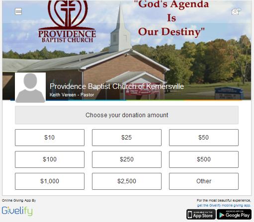 Providence Baptist Church Givelify